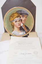 "Vntg Bradford N. Rockwell MEETING ON THE PATH  8.5"" Org Box +COA China Plate"