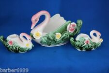 VINTAGE ROYAL SEALY PORCELAIN 3 PIECE SWAN PLANTER AND CANDLESTICK SET