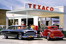 TEXACO GAS STATION 55 CHEV FORD COUPE TOOL BOX BEER FRIDGE MAN CAVE MAGNET