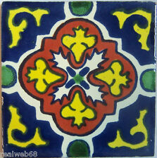 "90 Ceramic Mosaic Mexican Tiles Talavera Clay 4x4"" C152"