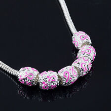 8X SILVER PINK RIBBON BEADS BREAST CANCER AWARENESS CHARMS FIT EURO BRACELETS