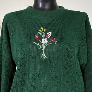 Large Womans Vintage Green Embroidered Wild Flowe Floral Pointelle Knit Sweater