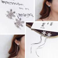Silver Christmas Star Snowflake Rhinestone Crystal Earrings Necklace Jewelry Set