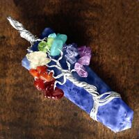 Blue Stone Tree Of Life Chakra Pendant Lapis Lazuli Silver Wire Wrap Necklace