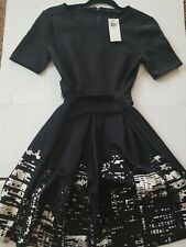 NWT ELIE TAHARI FOR DESIGN NATION Black with White FIT & FLARE DRESS Size 2 or 4
