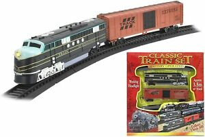 Classic Train Set Toy with Tracks Light Engine Battery Operated