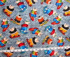 "100% Cotton Fabric ""Kidz"" Bloom/Art Textiles, Blue Brick w/Skateboarding Pigs"