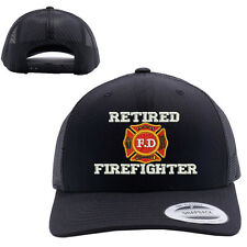 RETIRED FIRE FIGHTERS MESH TRUCKER SNAP CLOSURE CAP HAT BLACK