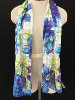 fashion scarf 58 x 13 purple green floral head covering long neck polyester