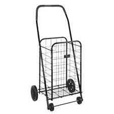 100 lb Folding Shopping Cart Basket Laundry Grocery Black Carrier Carry 4 Wheels