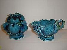 Vintage Mid 1970's Inarco Blue Indigo Fruit Creamer and Lidded Sugar Bowl