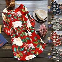 Summer Women Floral Tops Blouse Ladies Long Sleeve T-Shirt Dress Tunic Plus Size