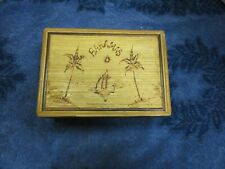 Wood Box w/ Lid Bahamas On Front Opens To Red Felt-lined Box Stash Jewelry