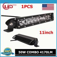 11inch 50W CREE LED Single Row Light Bar Flood Spot Combo Offroad SUV Trailer