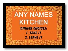 Funny Baked Beans Kitchen Personalised Dinner Table Placemat