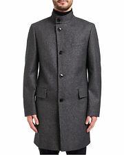 Hugo by Hugo Boss Mens C-Sintrax Band Collar Coat 38R Dark Grey Overcoat
