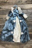 """Vintage/ Antique Doll Dress, Victorian Blue And White Lace 19"""""""