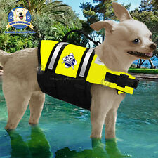 PAWS ABOARD Neon Yellow Pet Dog Life Jacket Water Safety Vest 7-15 lb XS NEW!