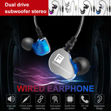 3.5mm Wired Headset In-Ear Earphone Dual Driver Stereo Earbuds Headphone Mic