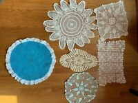 Hand Crocheted Doilies 6 Vintage Table Dresser Blue Round Oval Square Free Ship