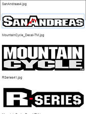 Mountain Cycle, San Andreas, R series, Repro decals, set of 6. + 1 FREE! From UK