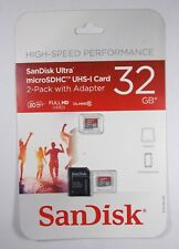 SANDISK ULTRA 32GB MICRO SD SDHC UHS-I CARD 2 PACK W/ADAPTER SEALED