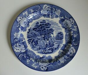 """Wood and Sons Enoch Woods English Scenery Rare 10"""" Blue and White Plate"""