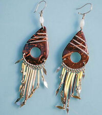 Fair Trade Coconut and quill earrings.