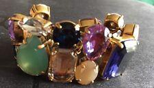 J. Crew Crystal Jewel Bracelet NWT Green Purple Clear Multi Shaped Rare