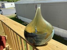 """ Signed Michael Harris"" Mdina Isle of Wight. glass Onion Fish Vase"