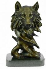"""Bronze Sculpture, Hand Made Statue Animal """"Wolf Howling At The Moon Figurine NR"""