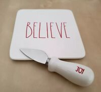 NEW RAE DUNN by MAGENTA BELIEVE Plate and JOY Cheese Knife Christmas Home Decor