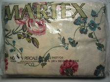 TWIN FITTED SHEET - Pink Red Roses & Carnations - Teal - Vintage MARTEX - New!