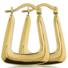9CT GOLD HOOP EARRINGS 22MM OVAL HANDBAG TUBE GYPSY VICTORIAN HOOPS GIFT BOX