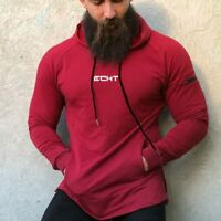 Echt Mens Pullover Hoodie Gym Bodybuilding Workout Training Muscle Hooded Top Uk