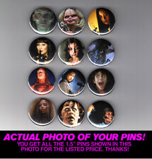 """HORROR ICONS / LADY KILLERS 1.5"""" PINS / BUTTONS (poster print slasher halloween)"""