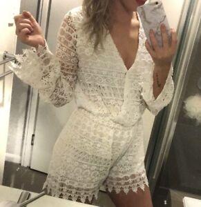 NANA JUDY White Lace Playsuit Size S
