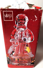 "Vintage Mikasa Santa Claus Glass Covered Candy Dish Christmas Golden Stars 8"""