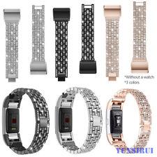 Women Kristall Edelstahl Metall Armband Uhrenarmband Strap für Fitbit Charge 2