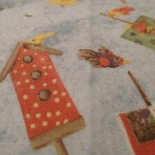 Birdhouse toss cotton fabric light blue Balson Erlander Bthy