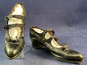 Vintage 1920 Womens Black Leather Bow Trim Double Strap Button Mary Janes Shoes