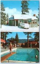 BIG BEAR LAKE, California  CA   Roadside FIRESIDE LODGE, Pool  ca 1950s Postcard