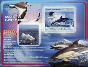 Guinea-Bissau Dolphins & Birds on Stamps 2008 MNH Gulls Seashells Marine 1v S/S