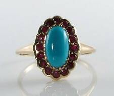 DIVINE 9CT 9K GOLD  PERSIAN TURQUOISE & INDIAN RUBY CLUSTER RING FREE RESIZE