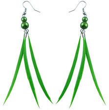F3138 Green Slim Feather likes gourd beads cute dangle earrings new arrive