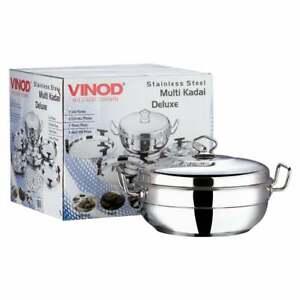 VINOD 26cm Stainless Steel Induction Multi Purpose Kadai Dhokla Patra Idli