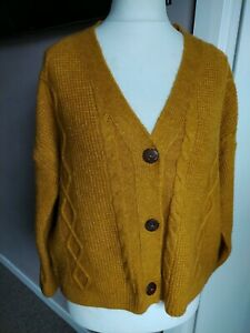 Gorgeous Mustard Cable Knit Cardigan Size 14 Long Sleeve