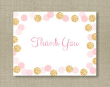 Blush Pink & Gold Glitter Dots Thank You Card Printable