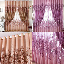 Home Door Window Balcony Luxury Flower Printed Sheer Tulle Voile Curtain Decor