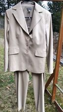 ANN TAYLOR KHAKI BEIGE CAREER OFFICE WOOL BLEND LINED PANT SUIT SIZE: 6